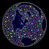 Raster Network Mesh Map of Global World with Glare Spots for New Year royalty free illustration