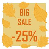 Poster for big sale in autumn, 25 percent discoun royalty free illustration