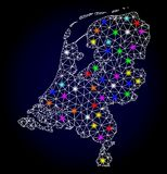 Raster Polygonal Mesh Map of Netherlands with Glowing Spots for New Year vector illustration
