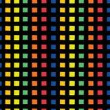 Raster rainbow seamless vestor pattern. Hand drawn orange, yellow, green, orange, red,and blue squares on black background. vector illustration