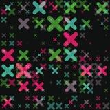 Raster sömlösa parallella geometriska arga Shape i neongräsplan- och rosa färgfärger på svart bakgrund Royaltyfri Bild