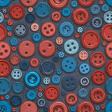 Raster Seamless Blue Red Retro Buttons Jumble Pattern. Abstract Background Stock Images