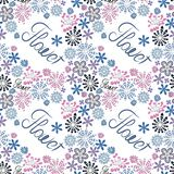 Seamless decorative floral pattern with the word flower, white background, creative flowers in pastel colors vector illustration