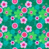Seamless floral pattern of pink flowers on a bright green background, spring-summer background stock illustration
