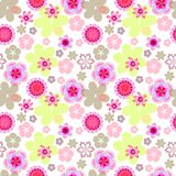 Seamless floral pattern pink flowers on white background, spring-summer background in pastel colors vector illustration