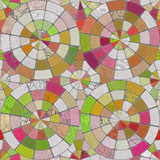 Raster Seamless Multicolor Brick  Pavement Circular Tiling Pattern Royalty Free Stock Photography