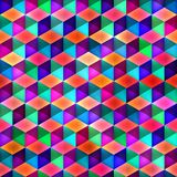 Raster Seamless Multicolor Cubes Pattern Stock Image