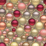 Raster Seamless New Year Christmass Tree Holiday Balls Jumble Pattern Stock Photography