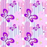 Seamless spring bright pretty female pattern with butterflies and flowers for design of textiles, wallpaper. White with royalty free illustration