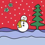 Raster snowman smiling standing in snow near spruce tree. Cute new year, christmas holiday character smiling. Winter greeting card royalty free illustration