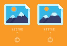 Raster vs concept. Flat icons - infographic design elements - comparison of different image formats stock illustration
