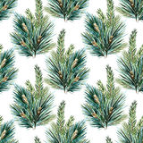 Raster watercolor christmas tree pattern Stock Images