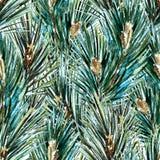 Raster watercolor christmas tree pattern Stock Photo