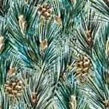 Rasteraquarell-Weihnachtsbaummuster Lizenzfreies Stockbild