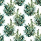 Rasteraquarell-Weihnachtsbaummuster Stockbilder