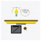 Rasterbakgrund med process för skrivbords- dator för bästa sikt idérik och för grafisk tabell för formgivare vektor illustrationer