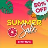 Rasterbild av banret med sommarfyndförsäljning arkivfoton