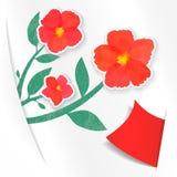 Rastereinladungskarte mit Blumen und Papier Vektor Abbildung