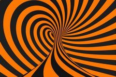 Rasterillustration der Illusion 3D des Tunnels optische Kontrastieren Sie Linien Hintergrund Hypnotische Streifen verzieren Psych stock abbildung
