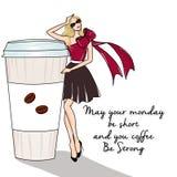 Rasterillustration des Kaffees und des blonden Mädchens auf Texthintergrund Lizenzfreies Stockfoto