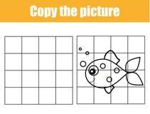 Rasterkopieringsarbetssedel Bildande barnlek Tryckbart ungeaktivitetsark med fisken Kopiera bilden royaltyfri illustrationer