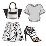 Rastermodeillustration - gem Art Set av kvinnas kläder och tillbehör Arkivfoton