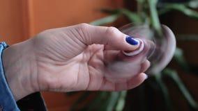 Rastl?s m?nniskaspinnaresnurr i hand stock video