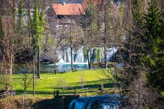 Rastoke village waterfalls in Croatia. Rastoke  is the historic center of the Croatian municipality of Slunj, known for the Slunjčica river, which flows royalty free stock photos