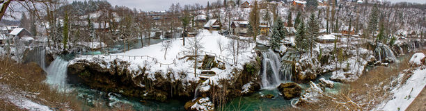 Rastoke waterfalls winter panorama, Croatia Stock Photography