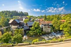 Rastoke wioska w zielonej naturze Zdjęcie Stock