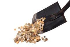 Rastrellando nei soldi Fotografia Stock
