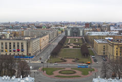 Rastrelli Square in St. Petersburg. View from bell tower of of Smolny (Resurrection) Cathedral Royalty Free Stock Photo