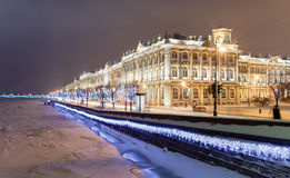 Rastrelli Winter Palace. Winter Palace (Hermitage museum) by Rastrelli. View from Neva-river. Saint-Petersburg, Russia Royalty Free Stock Images