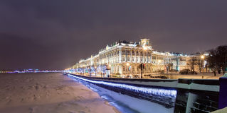 Rastrelli Winter Palace. Winter Palace (Hermitage museum) by Rastrelli. View from Neva-river. Saint-Petersburg, Russia Stock Photography