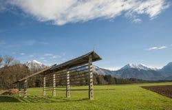 Rastrelliera per il fieno, regione di gorenjska, Slovenia Immagini Stock