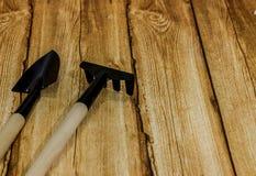 Rastrello e pala su fondo di legno Immagine Stock
