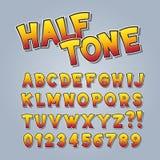 Rastrerad komisk pop Art Alphabet och nummer royaltyfri illustrationer