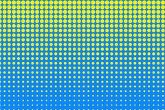 Rastrerad modell för prick Gulingcirklar, punkter på blå bakgrund också vektor för coreldrawillustration stock illustrationer
