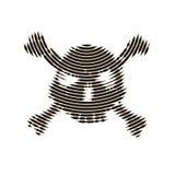 Rastrerad skalle, linje, våg vektor för bild för designelementillustration Inbjudan parti Affischtavla reklamblad symbol Royaltyfri Fotografi