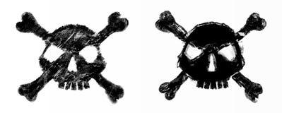 Rastrerad skalle vektor för bild för designelementillustration Inbjudan parti Mosaik perforering, grunge Arkivfoton