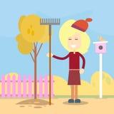 Rastrillo Autumn Work In Garden del control de la mujer libre illustration