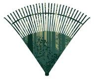 Rastrillo de la fan con el bosque stock de ilustración