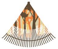 Rastrillo de la fan con el bosque libre illustration