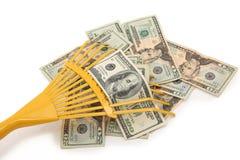 Rastrillo en dinero Imagen de archivo