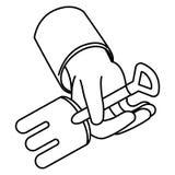 Rastrillo en el icono aislado mano libre illustration