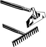 Rastrillo y azada ilustración del vector