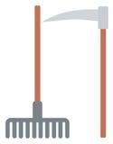 Rastrillo y guadaña agrícolas ilustración del vector