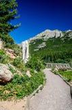 Rastro de Colorado del parque de Lily Lake Rocky Mountain National con el azul Imagen de archivo libre de regalías