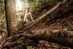 Rastro de la mujer que corre en verano Fotografía de archivo libre de regalías