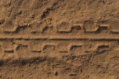 Rastro de la rueda en la tierra Foco selectivo Foto de archivo libre de regalías
